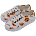 Funny Spooky Halloween Pumpkins Pattern White Orange Kids  Classic Low Top Sneakers View2