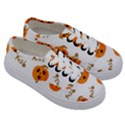 Funny Spooky Halloween Pumpkins Pattern White Orange Kids  Classic Low Top Sneakers View3