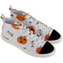 Funny Spooky Halloween Pumpkins Pattern White Orange Men s Mid-Top Canvas Sneakers View3