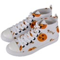 Funny Spooky Halloween Pumpkins Pattern White Orange Women s Mid-Top Canvas Sneakers View2