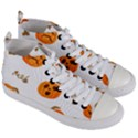 Funny Spooky Halloween Pumpkins Pattern White Orange Women s Mid-Top Canvas Sneakers View3