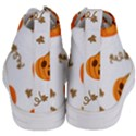 Funny Spooky Halloween Pumpkins Pattern White Orange Women s Mid-Top Canvas Sneakers View4