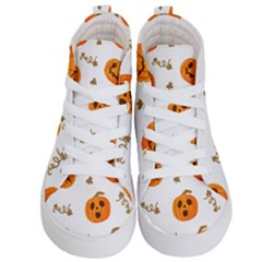 Funny Spooky Halloween Pumpkins Pattern White Orange Kid s Hi Top Skate Sneakers