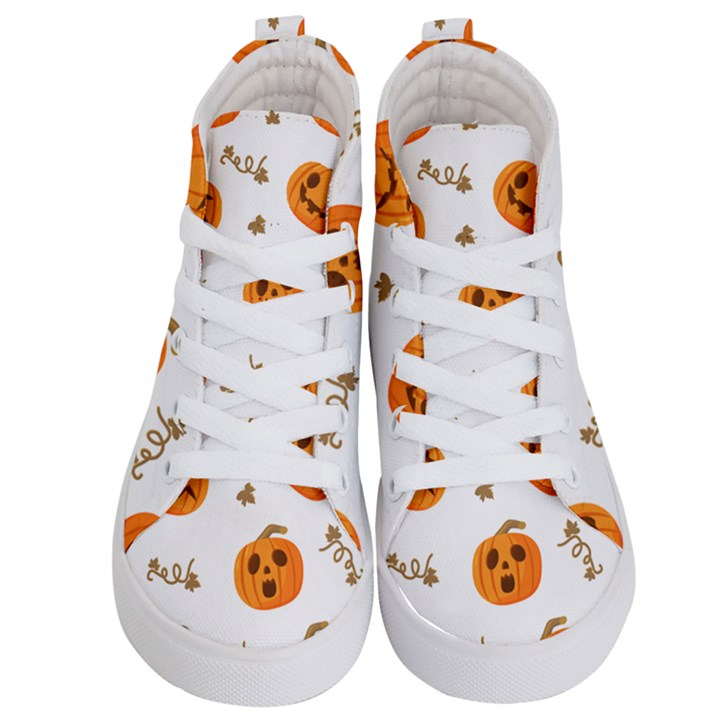 Funny Spooky Halloween Pumpkins Pattern White Orange Kid s Hi-Top Skate Sneakers