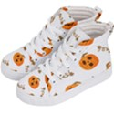 Funny Spooky Halloween Pumpkins Pattern White Orange Kid s Hi-Top Skate Sneakers View2