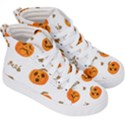 Funny Spooky Halloween Pumpkins Pattern White Orange Kid s Hi-Top Skate Sneakers View3
