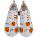 Funny Spooky Halloween Pumpkins Pattern White Orange Men s Lightweight Sports Shoes View1
