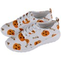 Funny Spooky Halloween Pumpkins Pattern White Orange Men s Lightweight Sports Shoes View2