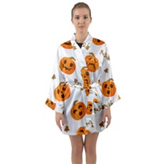 Funny Spooky Halloween Pumpkins Pattern White Orange Long Sleeve Kimono Robe