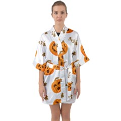 Funny Spooky Halloween Pumpkins Pattern White Orange Quarter Sleeve Kimono Robe