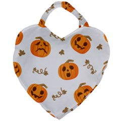 Funny Spooky Halloween Pumpkins Pattern White Orange Giant Heart Shaped Tote by HalloweenParty