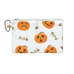 Funny Spooky Halloween Pumpkins Pattern White Orange Canvas Cosmetic Bag (medium)