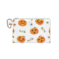 Funny Spooky Halloween Pumpkins Pattern White Orange Canvas Cosmetic Bag (small)