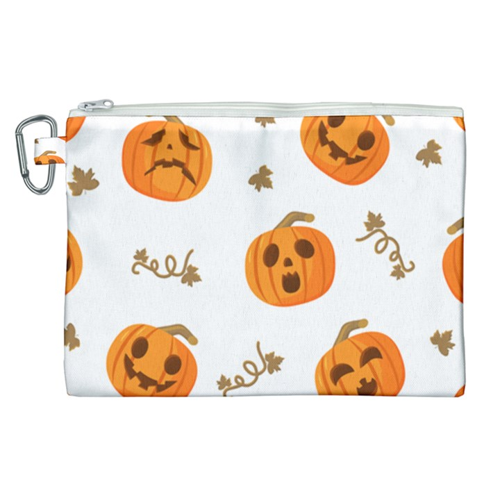 Funny Spooky Halloween Pumpkins Pattern White Orange Canvas Cosmetic Bag (XL)