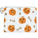 Funny Spooky Halloween Pumpkins Pattern White Orange Canvas Cosmetic Bag (XXL) View1