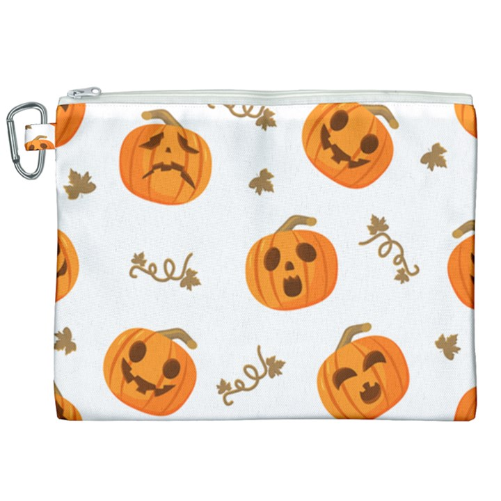 Funny Spooky Halloween Pumpkins Pattern White Orange Canvas Cosmetic Bag (XXL)