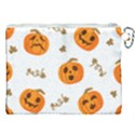 Funny Spooky Halloween Pumpkins Pattern White Orange Canvas Cosmetic Bag (XXL) View2