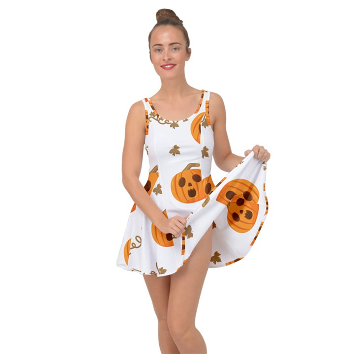 Funny Spooky Halloween Pumpkins Pattern White Orange Inside Out Casual Dress