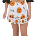 Funny Spooky Halloween Pumpkins Pattern White Orange Fishtail Mini Chiffon Skirt View1