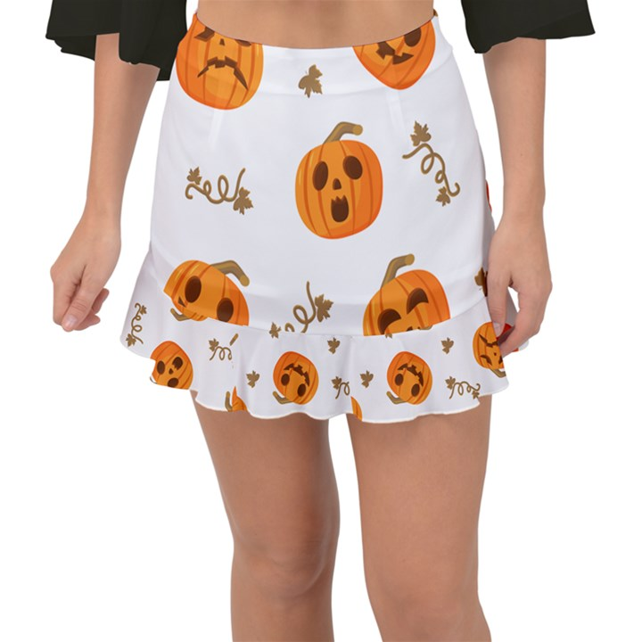 Funny Spooky Halloween Pumpkins Pattern White Orange Fishtail Mini Chiffon Skirt