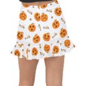 Funny Spooky Halloween Pumpkins Pattern White Orange Fishtail Mini Chiffon Skirt View2