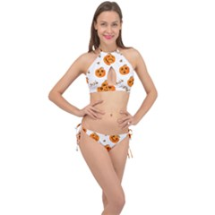 Funny Spooky Halloween Pumpkins Pattern White Orange Cross Front Halter Bikini Set
