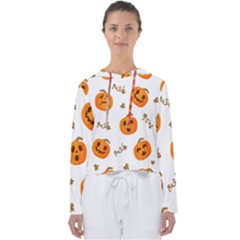 Funny Spooky Halloween Pumpkins Pattern White Orange Women s Slouchy Sweat