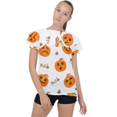 Funny Spooky Halloween Pumpkins Pattern White Orange Ruffle Collar Chiffon Blouse