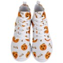 Funny Spooky Halloween Pumpkins Pattern White Orange Men s Lightweight High Top Sneakers View1