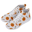 Funny Spooky Halloween Pumpkins Pattern White Orange Men s Lightweight High Top Sneakers View2