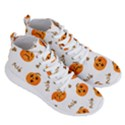 Funny Spooky Halloween Pumpkins Pattern White Orange Men s Lightweight High Top Sneakers View3