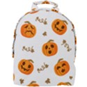 Funny Spooky Halloween Pumpkins Pattern White Orange Mini Full Print Backpack View1