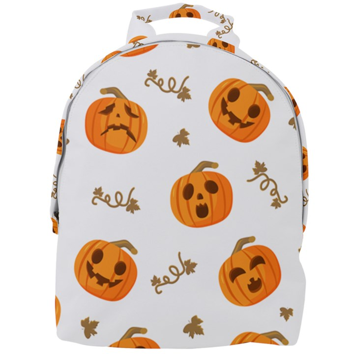 Funny Spooky Halloween Pumpkins Pattern White Orange Mini Full Print Backpack