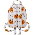 Funny Spooky Halloween Pumpkins Pattern White Orange Mini Full Print Backpack View2