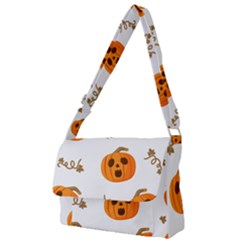 Funny Spooky Halloween Pumpkins Pattern White Orange Full Print Messenger Bag