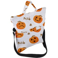 Funny Spooky Halloween Pumpkins Pattern White Orange Fold Over Handle Tote Bag