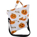 Funny Spooky Halloween Pumpkins Pattern White Orange Fold Over Handle Tote Bag View1