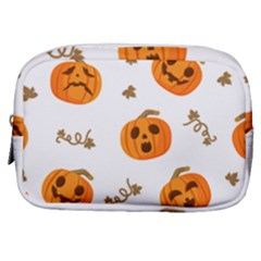 Funny Spooky Halloween Pumpkins Pattern White Orange Make Up Pouch (small) by HalloweenParty