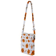 Funny Spooky Halloween Pumpkins Pattern White Orange Multi Function Travel Bag by HalloweenParty