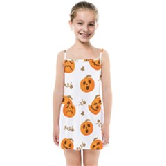 Funny Spooky Halloween Pumpkins Pattern White Orange Kids Summer Sun Dress by HalloweenParty