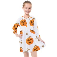 Funny Spooky Halloween Pumpkins Pattern White Orange Kids  Quarter Sleeve Shirt Dress
