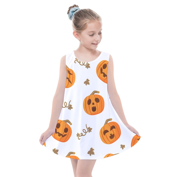 Funny Spooky Halloween Pumpkins Pattern White Orange Kids  Summer Dress