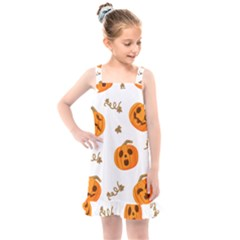 Funny Spooky Halloween Pumpkins Pattern White Orange Kids  Overall Dress