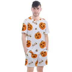 Funny Spooky Halloween Pumpkins Pattern White Orange Men s Mesh Tee And Shorts Set