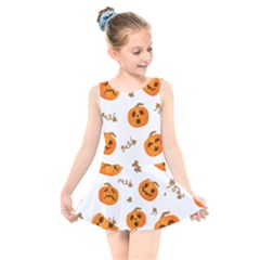 Funny Spooky Halloween Pumpkins Pattern White Orange Kids  Skater Dress Swimsuit by HalloweenParty