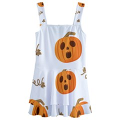 Funny Spooky Halloween Pumpkins Pattern White Orange Kids  Layered Skirt Swimsuit