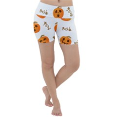 Funny Spooky Halloween Pumpkins Pattern White Orange Lightweight Velour Yoga Shorts
