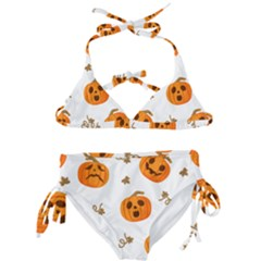 Funny Spooky Halloween Pumpkins Pattern White Orange Kids  Classic Bikini Set