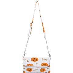 Funny Spooky Halloween Pumpkins Pattern White Orange Mini Crossbody Handbag