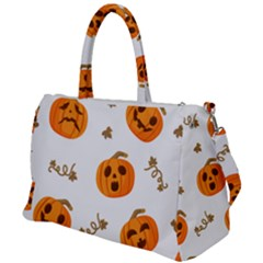 Funny Spooky Halloween Pumpkins Pattern White Orange Duffel Travel Bag